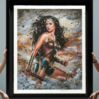 Wonder Woman: Amazon Warrior XL Deluxe Diamond Dust Fine Art Print with Black Frame, Held by Hands