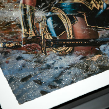 Wonder Woman: Amazon Warrior XL Deluxe Diamond Dust Fine Art Print Cropped View of Sword