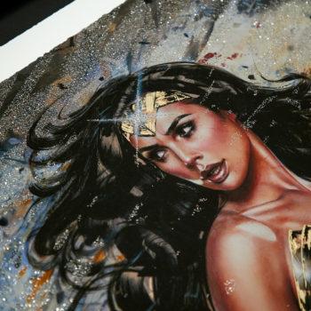 Wonder Woman: Amazon Warrior XL Deluxe Diamond Dust Fine Art Print Close Up on Gal Gadot Portrait