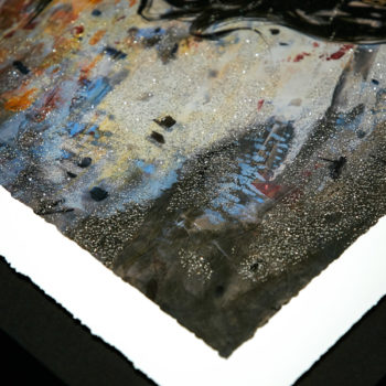 Wonder Woman: Amazon Warrior XL Deluxe Diamond Dust Fine Art Print Upper Corner of Print with Sparkling Effect