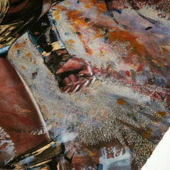Wonder Woman: Amazon Warrior XL Deluxe Diamond Dust Fine Art Print Closed Fist cropped view of print