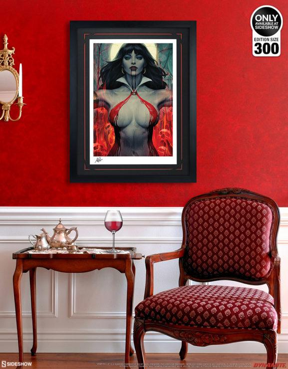 Vampirella #2 Fine Art Print by Stanley 'Artgerm' Lau Black Framed Edition on Red Wall Environment