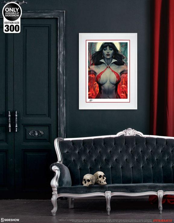 Vampirella #2 Fine Art Print by Stanley 'Artgerm' Lau White Framed Edition on Black Wall Environment