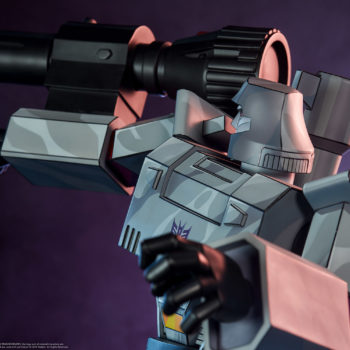 Megatron G1 Museum Scale Statue with Fusion Cannon and Dramatic Lighting