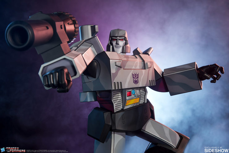 Megatron G1 Museum Scale Statue with Dramatic Blue and Purple Lighting