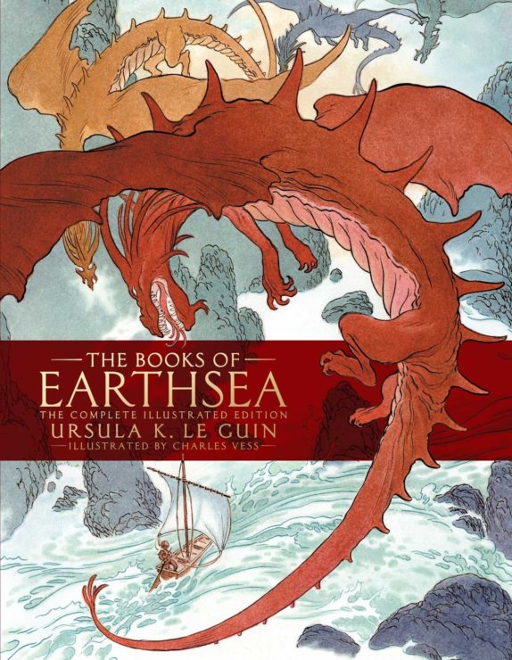 The cover of The Books of Earthsea The complete illustrated edition, showing a red dragon and an orange dragon barreling down towards a ship in the middle of a rocky ocean