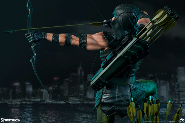 Green Arrow drawing his bow back view