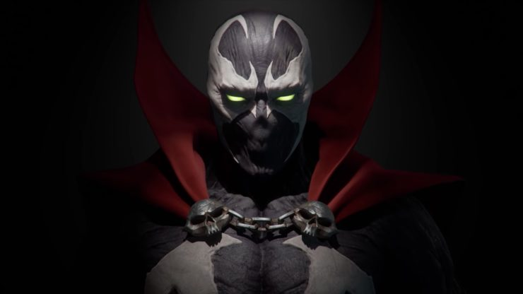 Spawn in Mortal Kombat 11 promo staring straight into the camera