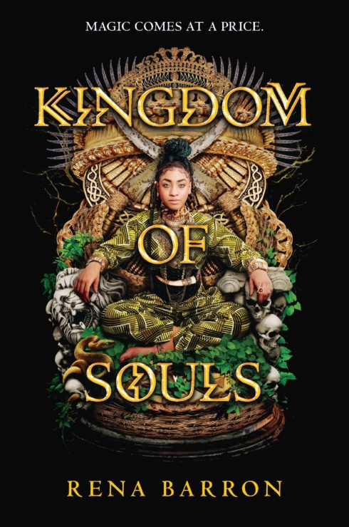 Book cover for Rena Brown's kingdom of souls showing arrah on a throne
