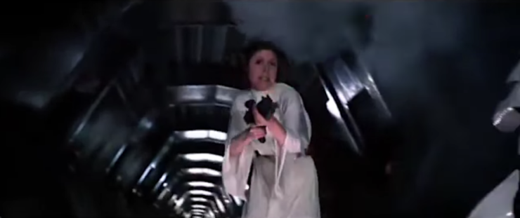 Leia shooting at storm troopers
