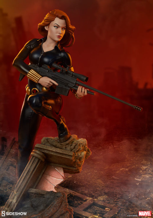 Black Widow Avengers Assemble Statue with Dramatic Red Rubble Background