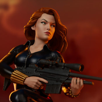 Black Widow Avengers Assemble Statue Portrait Close Up with Dramatic Lighting