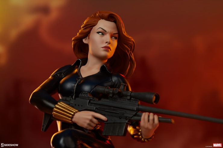 The Black Widow Statue Takes Aim in the Avengers Assemble Collection