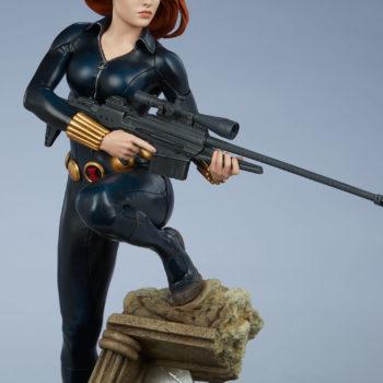 Black Widow Avengers Assemble Statue Sniper Rifle Front View