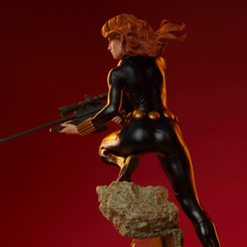 Black Widow Avengers Assemble Statue Back View of Figure with Dramatic Lighting