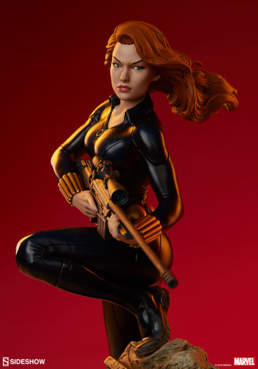 Black Widow Avengers Assemble Statue with Dramatic Red Lighting 3