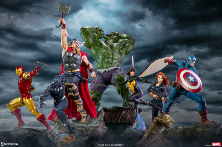 Black Widow Avengers Assemble Statue Collection with Hulk, Iron Man, Captain America, The Wasp, Thor, Black Panther