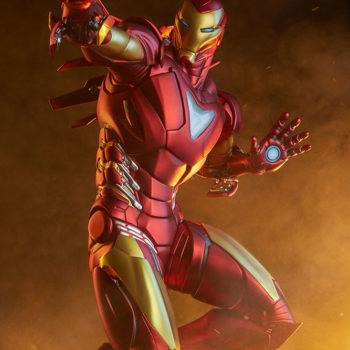 Iron Man Extremis Mark 2 Statue from Adi Granov Artist Series with Dramatic Lighting