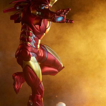 Iron Man Extremis Mark 2 Statue from Adi Granov Artist Series with Dramatic Lighting 2