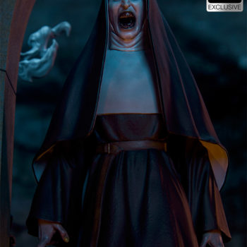 The Nun emerging from an ouroboros portal in dark lighting front view close up
