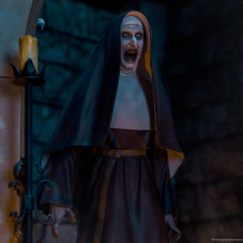 The Nun emerging from an ouroboros portal in dark lighting front view close up while the nun screams
