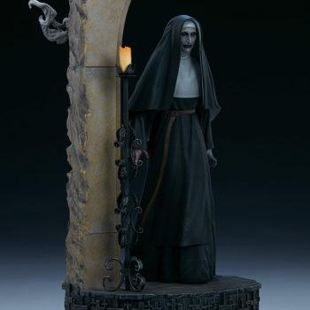 The Nun emerging from an ouroboros portal slight right view