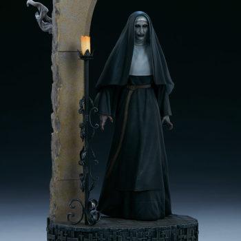 The Nun emerging from an ouroboros portal front view