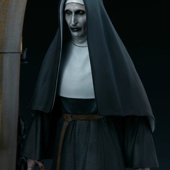The Nun emerging from an ouroboros portal slight left view close up