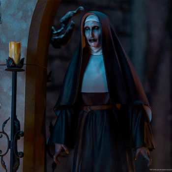 The Nun emerging from an ouroboros portal in dark lighting left view close up
