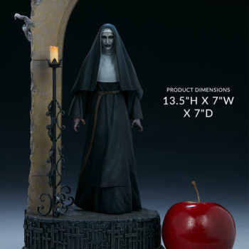 The Nun emerging from an ouroboros portal front view with an apple to compare sizes