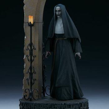 The Nun emerging from an ouroboros portal slight left view
