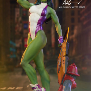 She-Hulk Statue from the Adi Granov Artist Series with Logo and City Background