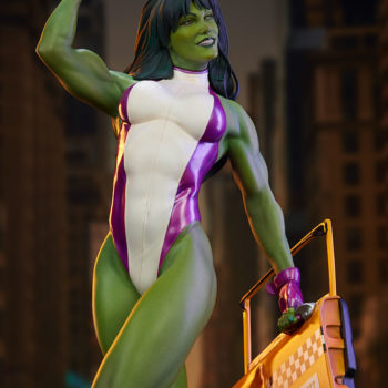 She-Hulk Statue from the Adi Granov Artist Series with Dramatic Lighting and City Background