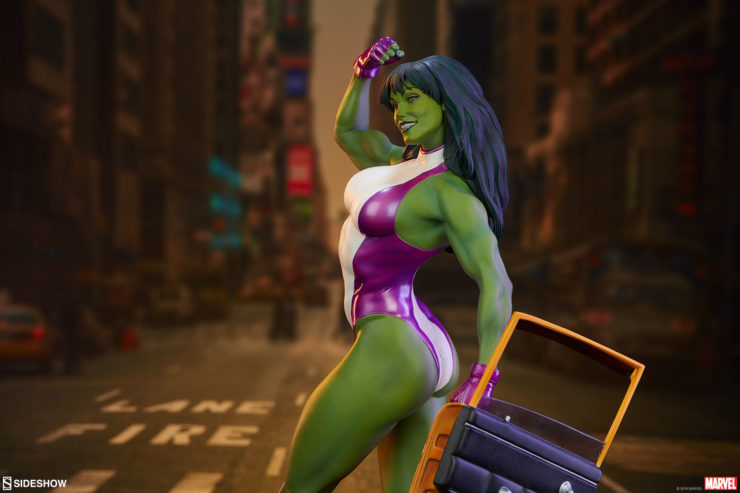 She-Hulk Statue from the Adi Granov Artist Series with Dramatic Lighting and City Background 2
