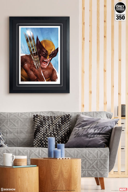 The Incredible Hulk vs. Wolverine Fine Art Print by Ben Oliver Black Framed Edition on Environment Wall