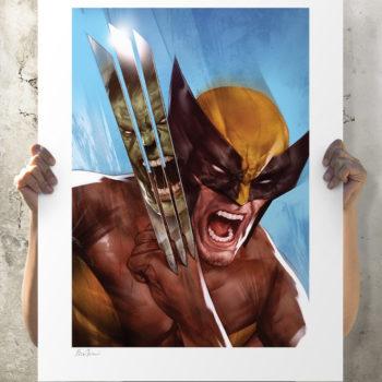 The Incredible Hulk vs. Wolverine Fine Art Print by Ben Oliver Unframed Edition Open Lit Shot