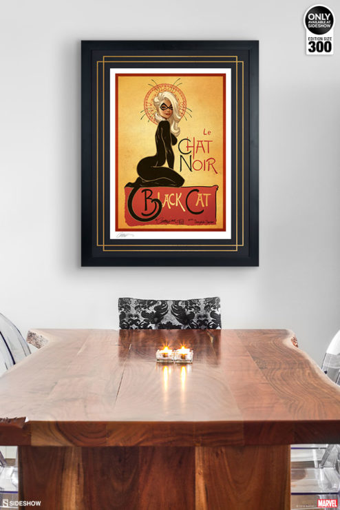 Le Chat Noir: The Black Cat Fine Art Print by J. Scott Campbell Black Framed Edition on Environment Wall