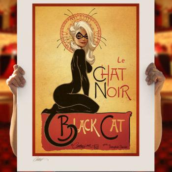 Le Chat Noir: The Black Cat Fine Art Print by J. Scott Campbell Unframed Edition in Open Lighting