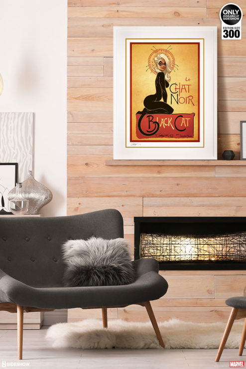 Le Chat Noir: The Black Cat Fine Art Print by J. Scott Campbell White Framed Edition on Environment Wall