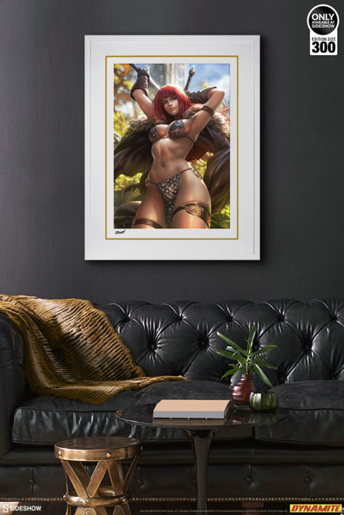 Red Sonja Fine Art Print by Derrick Chew White Framed Edition on Environment Wall