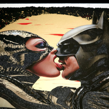 Tongue Lashing XL Deluxe Diamond Dust Fine Art Print Angled View of Catwoman and Batman