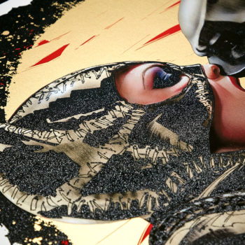 Tongue Lashing XL Deluxe Diamond Dust Fine Art Print Close Up View of Catwoman