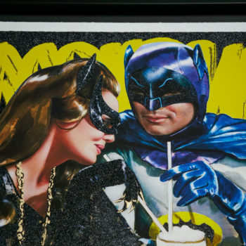 Meanwhile, at the Sweet Shoppe… XL Deluxe Diamond Dust Fine Art Print Cropped View of Batman and Catwoman