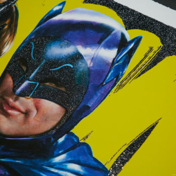 Meanwhile, at the Sweet Shoppe… XL Deluxe Diamond Dust Fine Art Print Cropped View of Batman