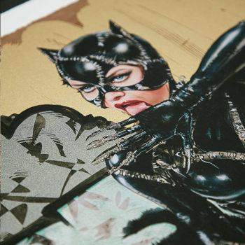 Clawsplay XL Deluxe Diamond Dust Fine Art Print Cropped View of Catwoman's Face