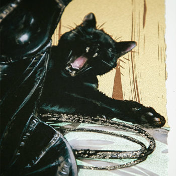 Clawsplay XL Deluxe Diamond Dust Fine Art Print Close Up View on Yawning Cat