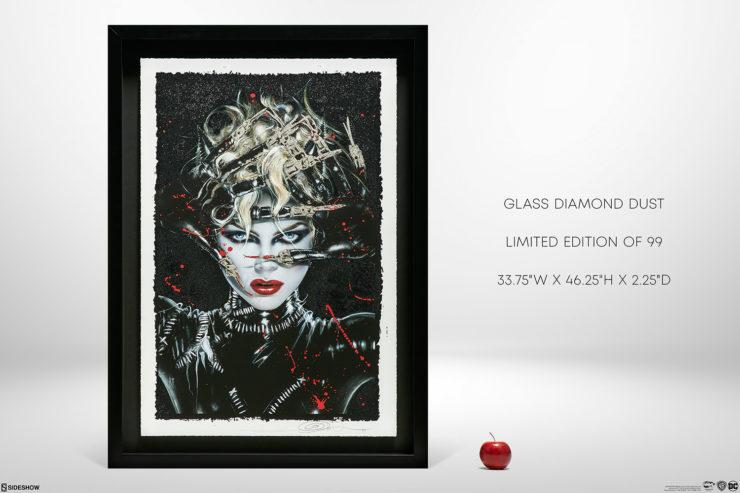 Chat Noir XL Deluxe Diamond Dust Fine Art Print with Black Frame