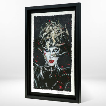 Chat Noir XL Deluxe Diamond Dust Fine Art Print Black Framed Tilted at an angle
