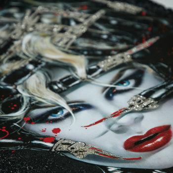 Chat Noir XL Deluxe Diamond Dust Fine Art Print Close Crop on Catwoman's Face 1