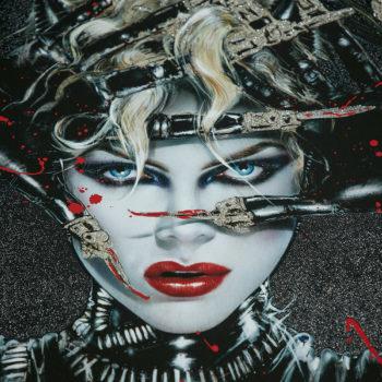Chat Noir XL Deluxe Diamond Dust Fine Art Print Close Crop on Catwoman's Face 2
